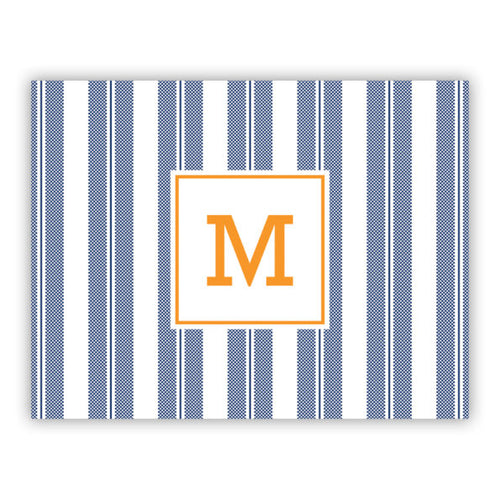 Personalized Folded Note Cards Vineyard Stripe Navy