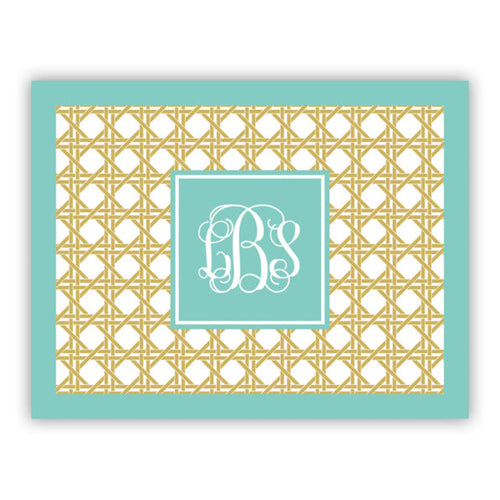 Personalized Folded Note Cards Parker Border Aqua