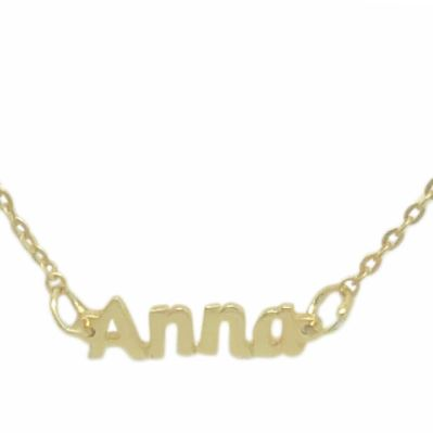 Anna Nameplate Necklace Gold Vermeil