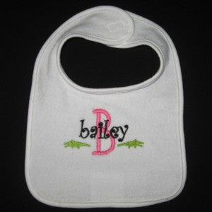Personalized Preppy Baby Bib & Burpcloth Small Gators
