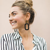 Black Block Leather Earrings