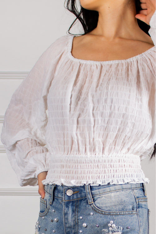 White Textured Shirred Top