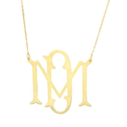 Bae Cut Out Monogram Necklace Gold Vermeil