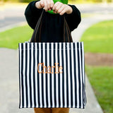 Halloween Tote Black Stripes with name