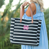 Stripe Personalized Tote Black