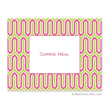 Folded Note Cards Blaine Pink & Green
