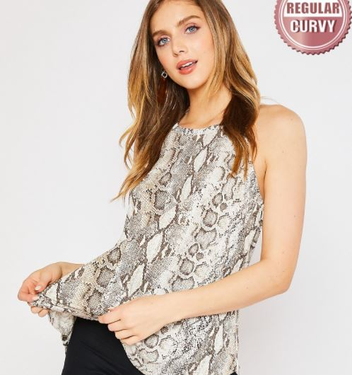 SNAKE PRINT HALTER TANK FASHION TOP