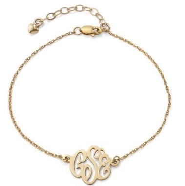 Cheshire Handcut Monogram Bracelet  Gold Filled