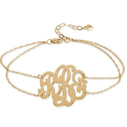 Cheshire Handcut Monogram Double Chain Bracelet  Gold Filled