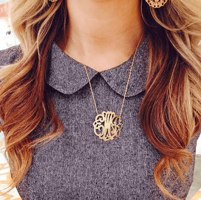 Cheshire Handcut Monogram Necklace Gold Lifestyle