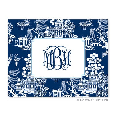 Personalized Folded Note Cards Chinoiserie Navy
