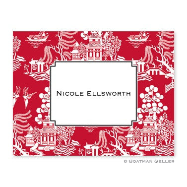 Personalized Folded Note Cards Chinoiserie Red