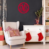 Three Letter Wood Monogram 2 Designs Circle