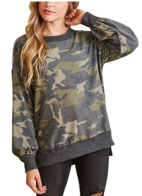 FRENCH TERRY CAMO KNIT TOP