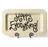 Gold Small Dot Happy Everything Rectangle Platter
