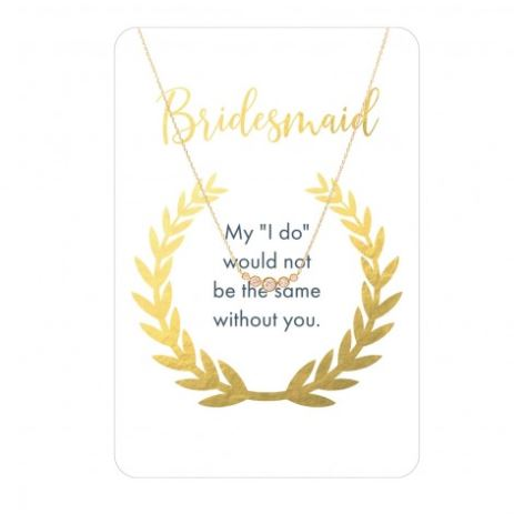 Bridesmaid Five Stone CZ Gold Necklace Card
