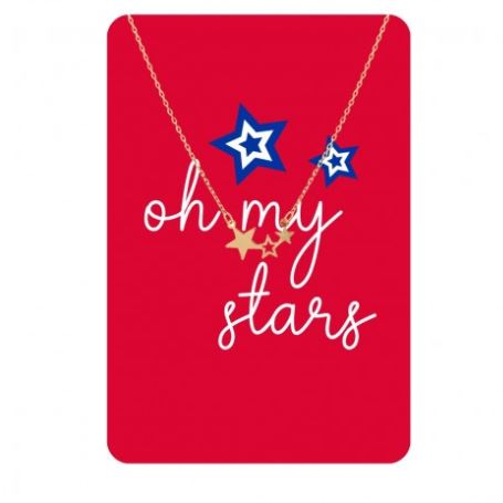 Patriotic Stars Gold or Silver Necklace Card Gold Stars