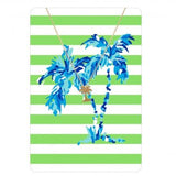 Tropical Gold Necklace with Striped Metal Card Palm Tree