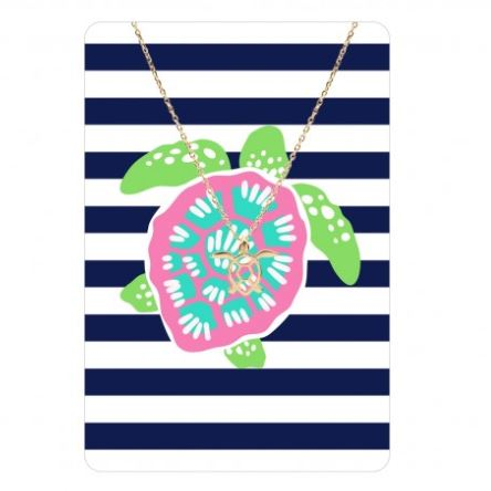 Tropical Gold Necklace with Striped Metal Card Turtle