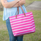 Stripe Personalized Tote Hot Pink