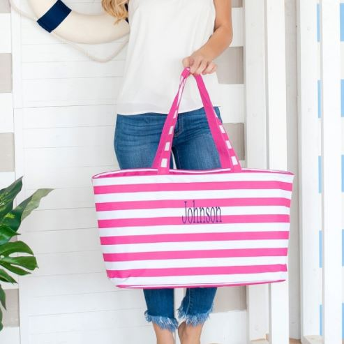 Stripe Ultimate Tote 4 Colors Hot Pink Stripe