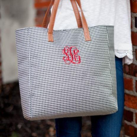 Personalized Tote Choose Pattern Houndstooth