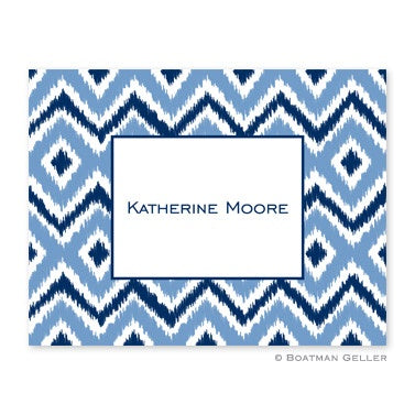 Personalized Folded Note Cards Ikat Blue