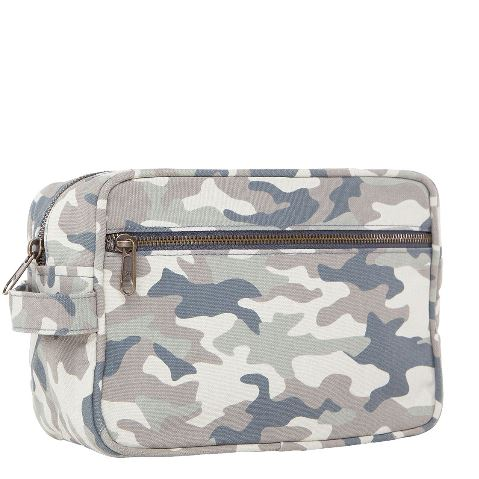 Camo Canvas Lined Travel Kit-Two Colors Side View
