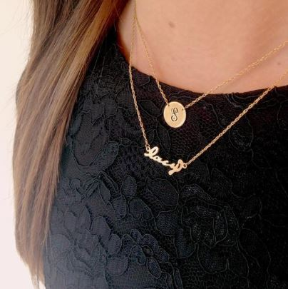 Metal Nameplate Necklace Gold on Model