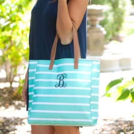 Stripe Personalized Tote Mint