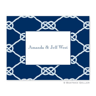 Nautical Knot Navy Personalized Folded Notecards