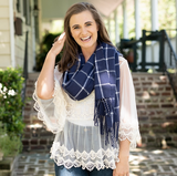Adaline Navy Plaid Scarf Lifestyle