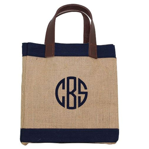 Mini Jute Market Bag Two Colors Navy