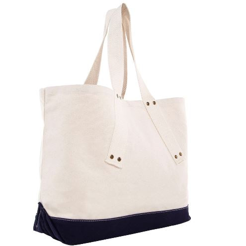 Brass Grommet Canvas Tote Three Colors Navy Side View