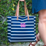 Stripe Personalized Tote Navy