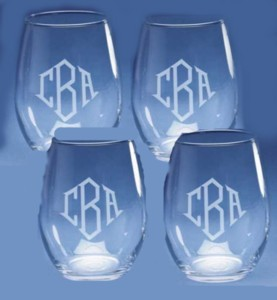 Monogrammed Stemless Wine Glasses Set of 4
