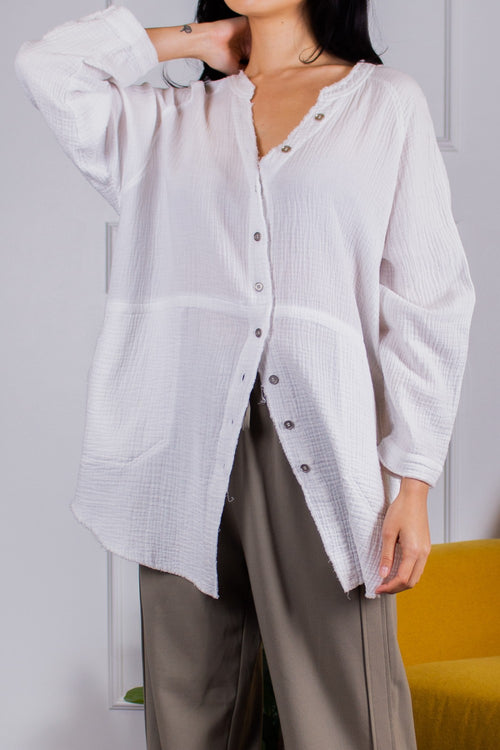 Gauze Button Down Tunic with Raw Hem Fabric	100% Cotton