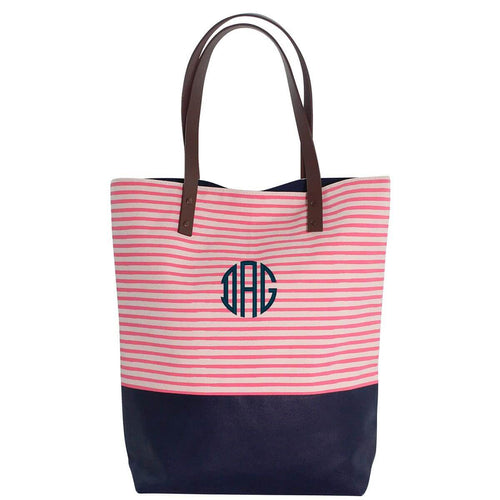 Seaport Stripes Dipped Tote Choose Color Coral and Navy