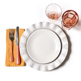 Signature White Ruffle Dinner Plate Lifestyle image