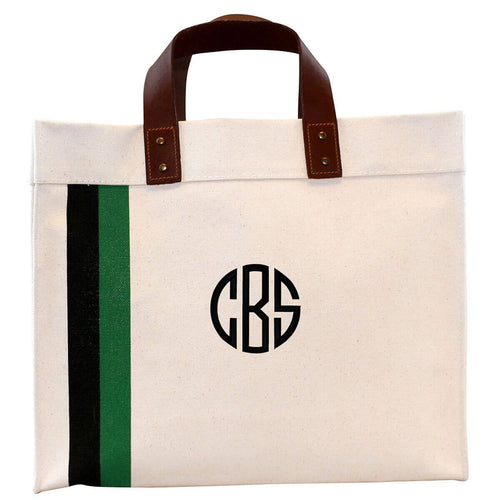 Small Square Striped Tote Choose Color Black and Emerald