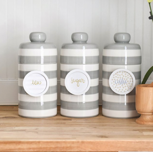 Stone Stripe Mini Canister Lifestyle