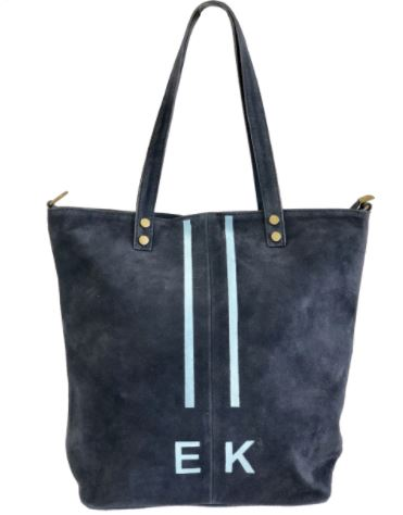 Tess Suede Tote Six Colors Navy with Stripes and Initials