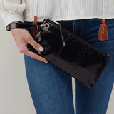 Vida Leather Clutch Wristlet Black Lifestyle