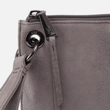 Vida Leather Wristlet Titanium Up Close