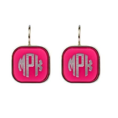 Vineyard Square Dangle Earrings Hot Pink Silver