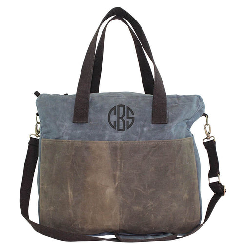 Waxed Canvas Multi Pocket Travel Tote Choose Color Slate