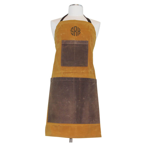 Waxed Canvas Two-toned Utility Apron Yellow with Khaki