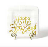 White Stripe Happy Everything Square Platter