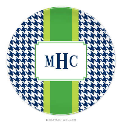 Set of 2 Personalized Plate Alex Houndstooth Navy