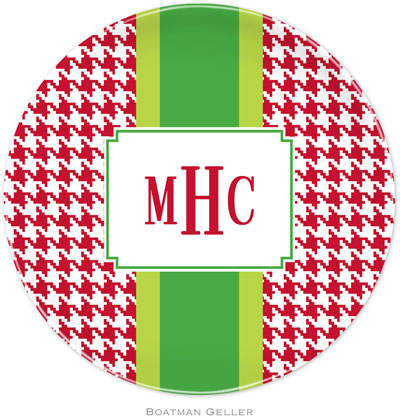 Set of 2 Personalized Plate Alex Houndstooth Red